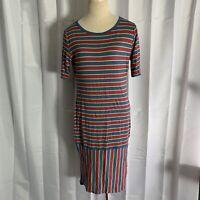 LuLaRoe LLR Julia Dress Fitted Red Blue Yellow Striped Size Medium