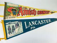 """LOT Vintage Pennants 26"""" Amish Country Lancaster Pennsylvania Felt USA Bridges"""