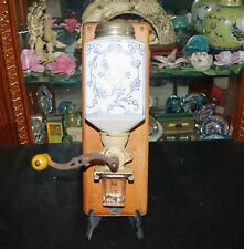Antique Rare Java Porcelain Glass Cast Iron Wood Coffee Mill Grinder Wall Mount