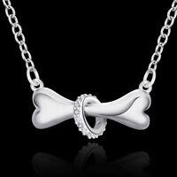 Silver Necklace Jewelry dog bone Fashion crystal Cute Pretty charm 925 18inches