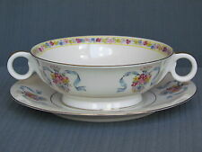 THEODORE HAVILAND NEW YORK ST. REGIS PATTERN CREAM SOUP BOWL AND UNDER PLATE MAD
