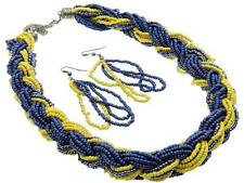Multi Strand Navy Blue & Yellow Mustard Glass Seed Bead Braided Necklace Earring