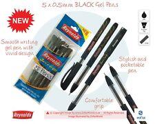 5 X 0.5mm Needle Tip REYNOLDS Jiffy Plus BLACK Gel Pens Fine Smooth Writing
