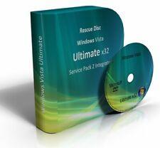 Windows Vista Ultimate 32 Bit Re-Install Restore Repair Recovery SP2 Boot DVD