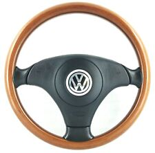 Genuine Nardi Volkswagen wood leather steering wheel and airbag. VW Golf Polo 3D
