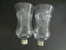 2 Etched Glass Poinsettia Christmas Flower Candle Holders w/ Pegs Home Interior