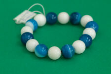 Blue Brazilian Agate Bracelet with White Coral Handmade Jewelry Gift