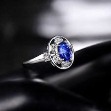 18ct White Gold Natural Untreated Tanzanite & Diamond Signet Ring GBP 3500