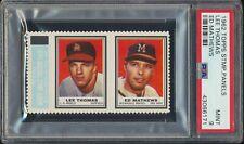 1962 Topps Stamps Panel Eddie Mathews Lee Thomas HOF Card PSA 9 MINT None Higher
