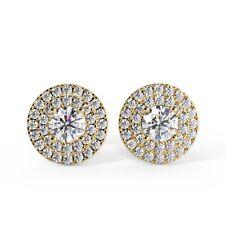 0.60 Ct Round Diamond Double Halo Stud Earring, 18k Yellow Gold UK Hallmarked
