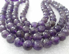 Amethyst QUARTZ MALA faceted (cutting) ROSARY BEST QUALITY 109 BEADS 8 mm