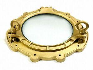 """Nautical  Aluminum Brass Antique Porthole 15"""" Ship Window Porthole Decor"""