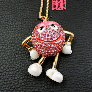 Betsey Johnson Cute Rhinestone Crystal Mr. Chocolate Bea Pendant Chain Necklace