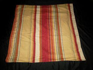 "Pottery Barn Serape Stripe Euro Sham Linen Blend Red Brown Blue Tan 26"" Square"