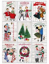 9 Vintage Retro Christmas Couples Hang Tags Scrapbooking Paper Craft (391)