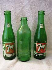 LOT OF 3 - BEAUTIFUL - VINTAGE - ASSORTED - 7-UP - SODA POP - GLASS BOTTLES