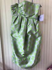 NWT Vera Wang Lavender Label Green Polka Dot Strapless Draped Bodice Dress Sz 2