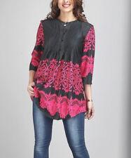 Tamaño 14 Pin Tuck túnica señoras Encaje Negro y Rosa para Mujer Largo Superior BNWT #B-1217