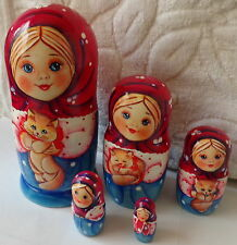 Superb Quality girl with kitten Russian Nesting Doll 5 Pcs Large 6.3*