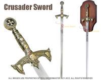 """47"""" Long Full Size Medieval 12th Century Knights Templar Crusader Sword w/ Plaq"""