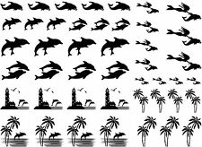 """Dolphin Lighthouse Palm Select Black or White  5"""" X 7"""" Card Fused Glass Decals"""