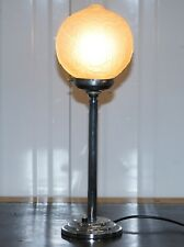 STUNNING ORIGINAL 90'S ART DECO GLASS AND CHROME PLATED TABLE LAMP VERY STYLISH