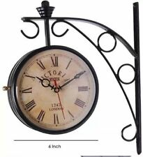 Railway Station Platform Decor Metal Double-sided Wall Clock Old Antique Look