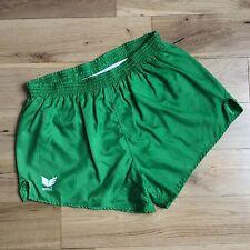 Vintage erima brillant vert en nylon de Sport Shorts de football à rayures Taille 34