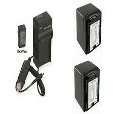 2 BP-727 Batteries + Charger for Canon HFR32 HFR300 HFM52 HFM56 HFM506 HFR36