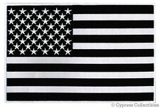 BLACK & WHITE AMERICAN FLAG EMBROIDERED IRON-ON PATCH - LARGE 11-INCH US USA new