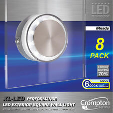8 x LED Performance Outdoor Square Wall Light Glass Cool White 6000K 240V IP44