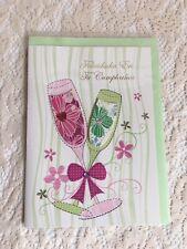 Spanish Greeting Card Felicidades en tu Cumpleanos Drinks Glasses Bow