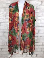Red Bold Floral Scarf Wrap With Fringe 68X24""