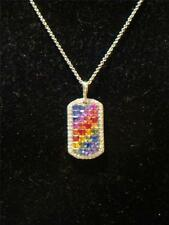 LAST CALL! BLOW OUT SALE!!18KT DIAMOND AND RAINBOW SAPPHIRE TAG PENDANT NECKLACE