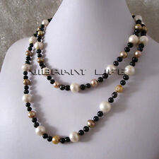 """38"""" 6-11mm White Champagne Black Freshwater Pearl Necklace U"""