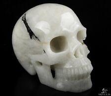 "5.0"" BLACK TOURMALINE Carved Crystal Skull, Realistic, Crystal Healing"