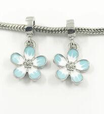 2pcs Flower Silver European Charm Crystal Spacer Beads Fit Necklace Bracelet HOT
