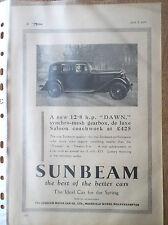 SUNBEAM 12.8 H. P. Dawn 1934 Vintage Original magazine Publicité Imprime