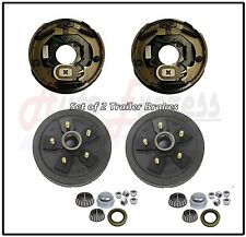 "2 Trailer 10 x 2 1/4"" Electric Brake 5 on 4.5 Hub Drum Bearing Kit Axle 3500 lbs"