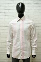 Camicia Maglia Uomo GUESS Taglia XL Shirt Manica Lunga Estate Cotone a Righe