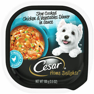 1PK Cesar Home Delights Slow Cooked Chicken & Vegetables in Sauce 3.5oz EXP 1...