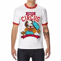 Crazy Circus Clown Show Ringer Men's T-shirts Funny Cotton Short Sleeve Tops Tee