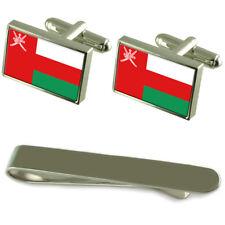 Oman Flag Silver Cufflinks Tie Clip Engraved Gift Set
