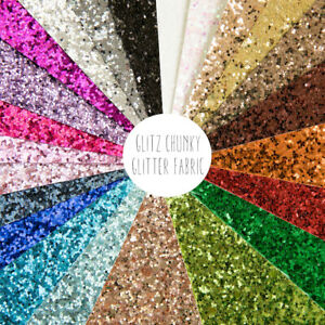 Glitz Chunky Glitter Fabric, 22 sparkly colours, Safe to use for kids crafts