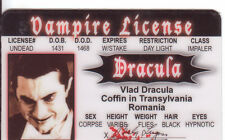 DRACULA the Vampire Bela Lugosi  plastic collector card Drivers License