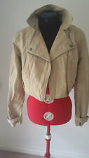 SIZE 8 WOMEN'S BEIGLE LONG SLEEVE LEATHER FAUX CROP JACKET BNWOT