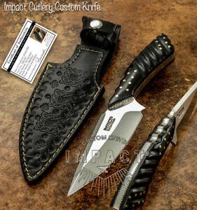 IMPACT CUTLERY RARE CUSTOM D2 FULL TANG BUSHCRAFT SKINNING KNIFE MICARTA HANDLE
