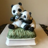 Vintage Panda Music Box Made In Japan Mommy and Baby Made in Japan - Gorham