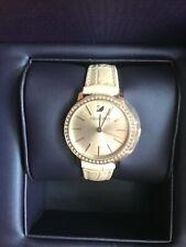 SWAROVSKI DAYTIME Clear Crystal White Leather Women's Watch with Box & Cert.