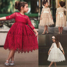 Toddler Kids Baby Girl Lace Flower Princess Tulle Party Pageant Dress Clothes UK